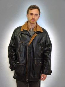 Higgs Leathers Ralph (men's PLUS SIZE Black Leather Parkas)