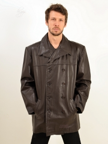 Higgs Leathers SOLD!  Reeder (men's Brown Leather Reefer jacket)