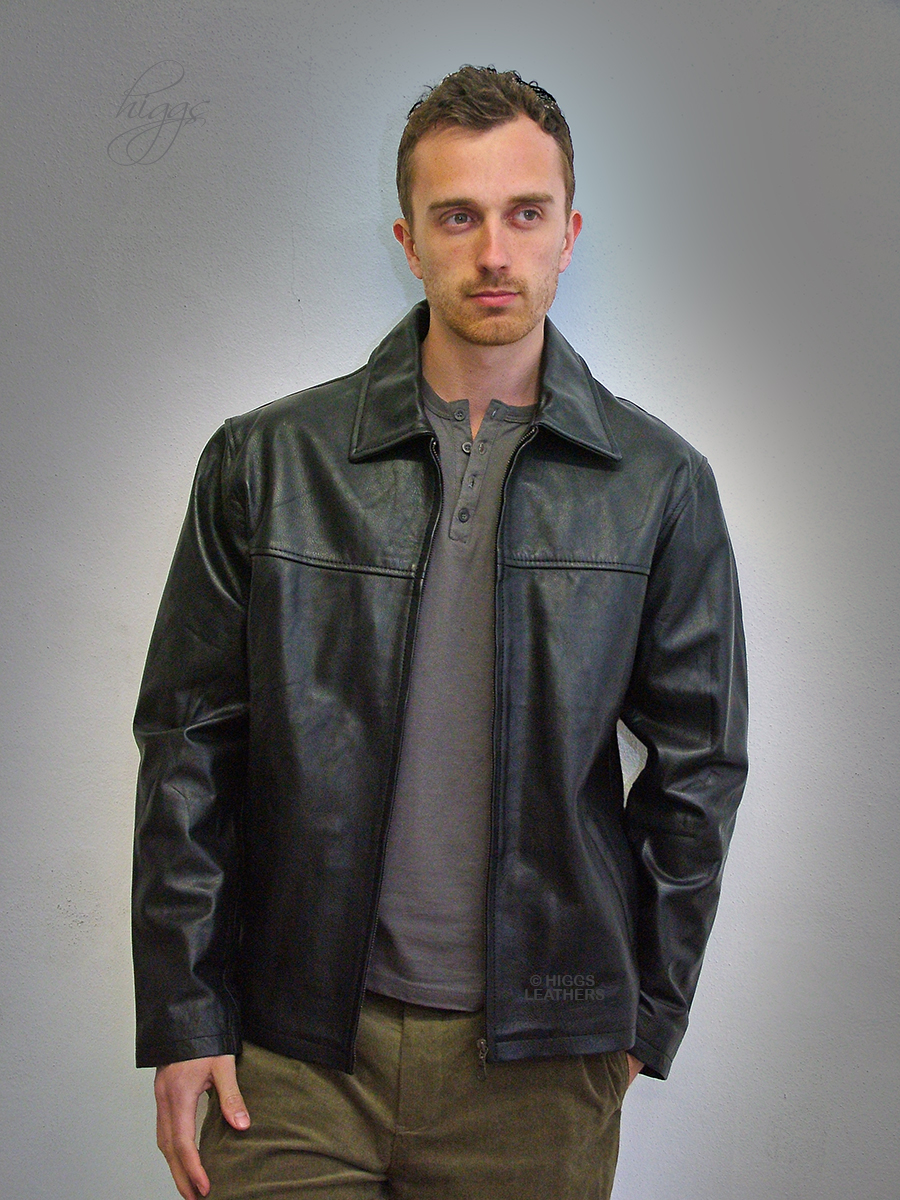 Higgs Leathers {NEW PICTURE!}  Sam (men's Black Nappa Leather jackets) Sizes from 38' to 54' Chest!
