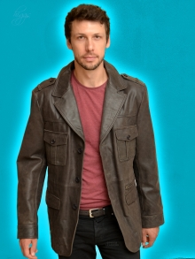 Higgs Leathers SOLD!  Brodrick (men's Brown leather Safari jacket)