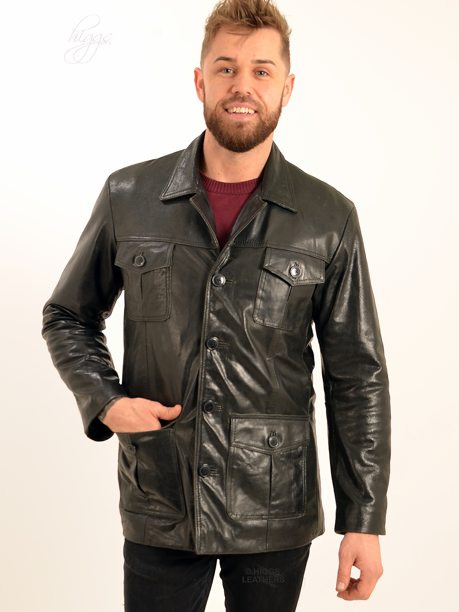 Higgs Leathers {ONE  ONLY - SAVE £60!}  Savvi (men's Black leather Safari jacket) FANTASTIC VALUE!