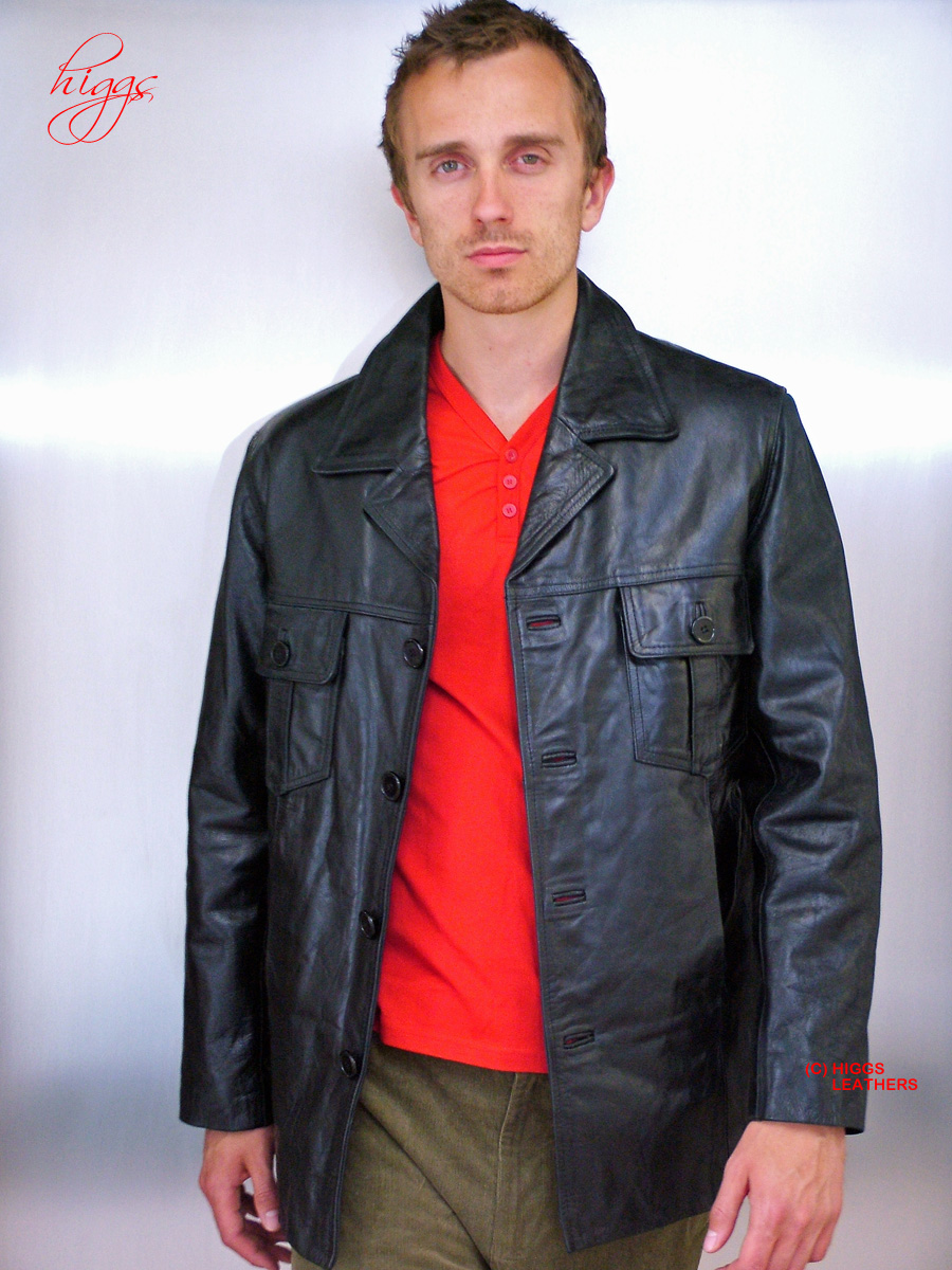 Higgs Leathers ALL SOLD! Theo (men's Black leather 'Safari' jackets) GREAT STYLE - GREAT VALUE!