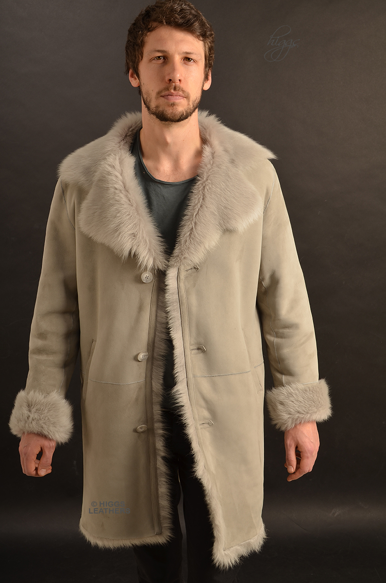 Higgs Leathers {NEW STOCK!}  Alexander (men's Grey Frost Toscana Lambskin coats) New Generation Shearling Coats for men!