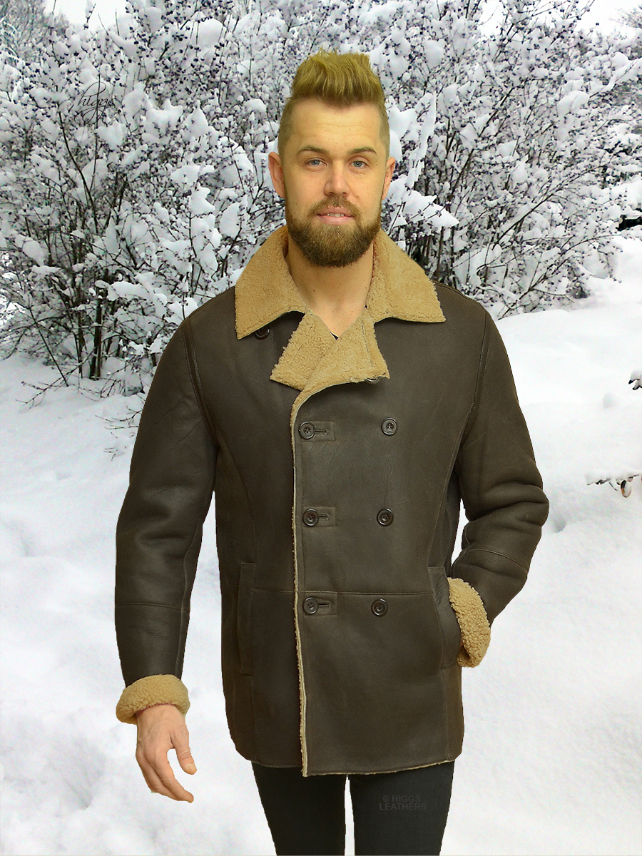 Higgs Leathers {NEW STOCK!}  Caesar (men's double breasted Shearling jackets)