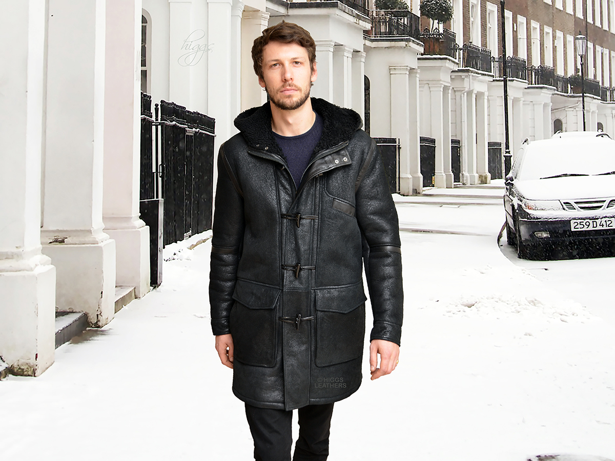 Higgs Leathers {LAST ONE SIZE 42' CHEST}  Denny (men's Black Sheepskin Duffel coats) NEW GENERATION MEN'S SHEEPSKIN COATS!