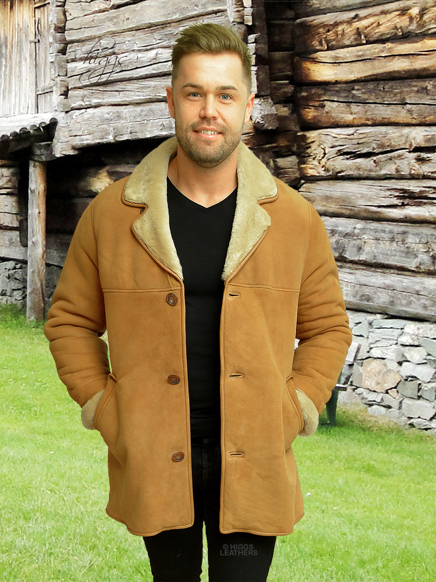 Higgs Leathers {NEW PICTURE!}  Devon (3/4 length men's Tan Sheepskin coats)