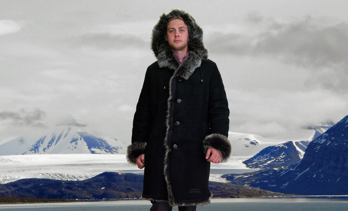Higgs Leathers {SAVE £150!}  Hooded Harry (men's hooded Toscana Shearling coat)