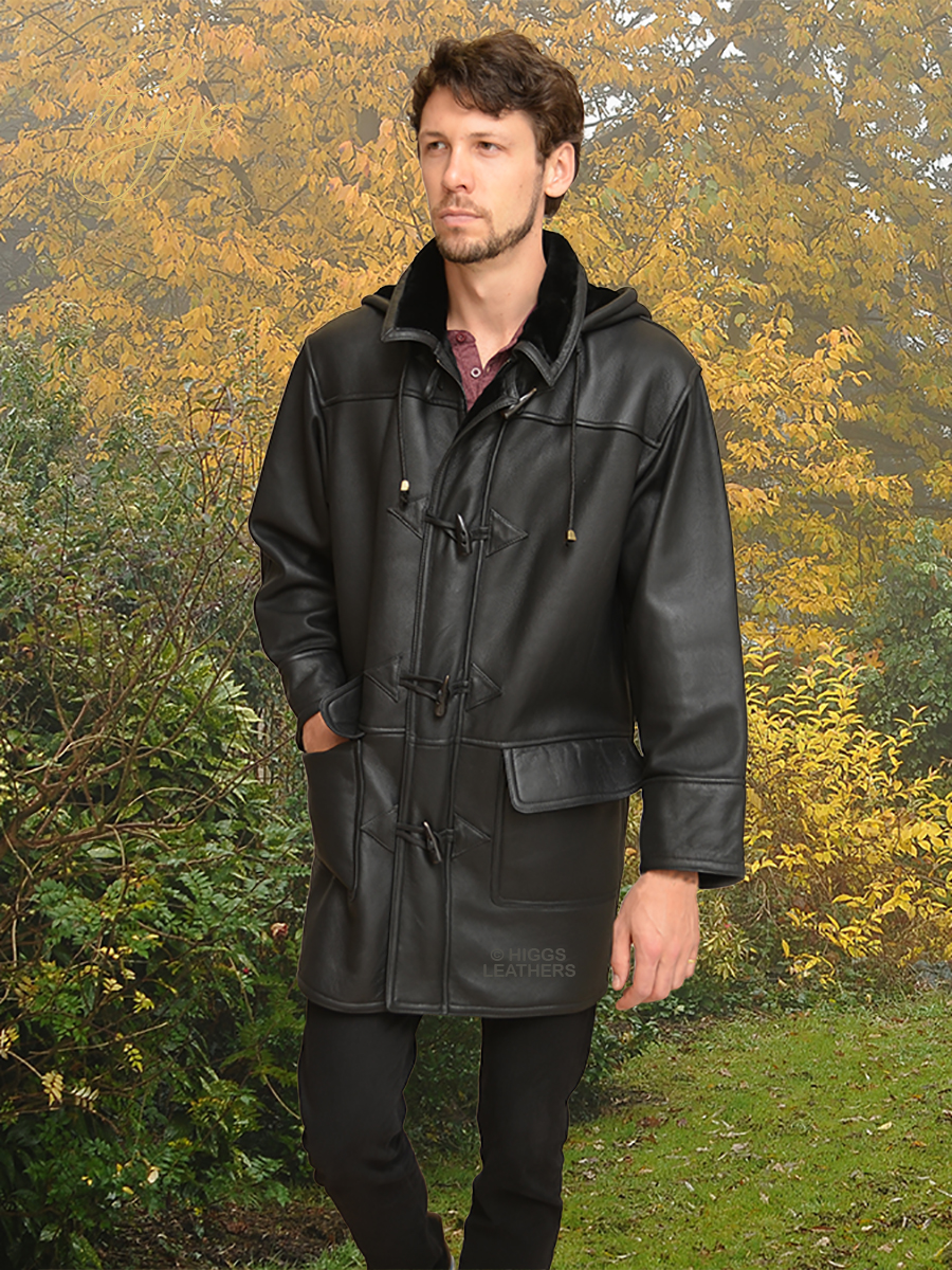 Higgs Leathers Josh (Nappa Shearling Duffle coats for men)   Ultimate Quality!