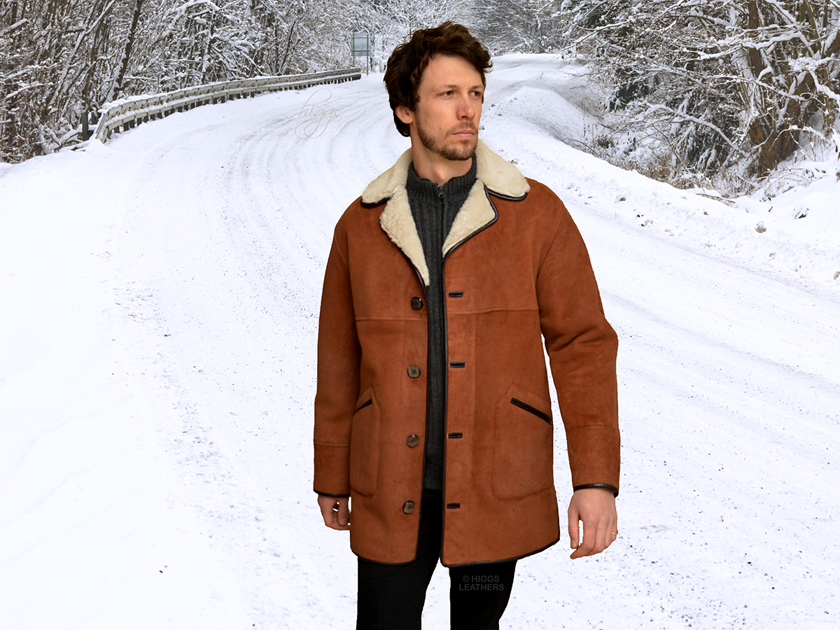 Higgs Leathers {NEW PICTURE!}  Kent (men's Tan and White Shearling coats) A Timeless Classic Style!