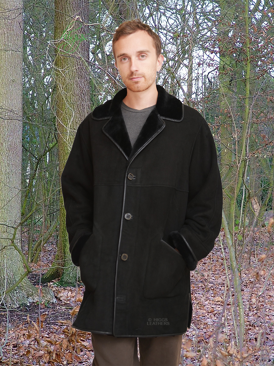 Higgs Leathers {LAST one SAVE £300!}  Kent (3/4 length mens Merino Lambskin coats)