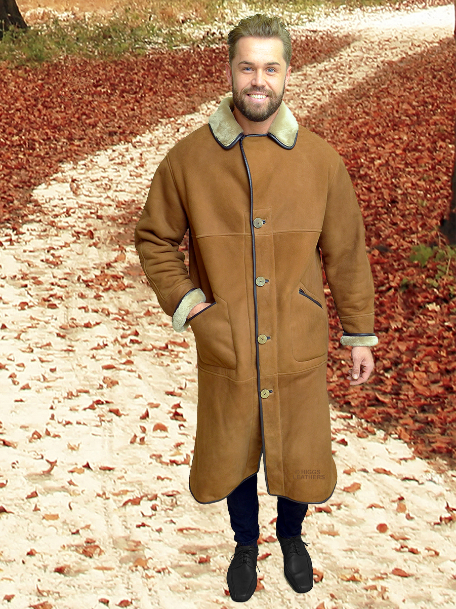 Higgs Leathers {SAVE £200!}  Kentas (men's full length Shearling coat)