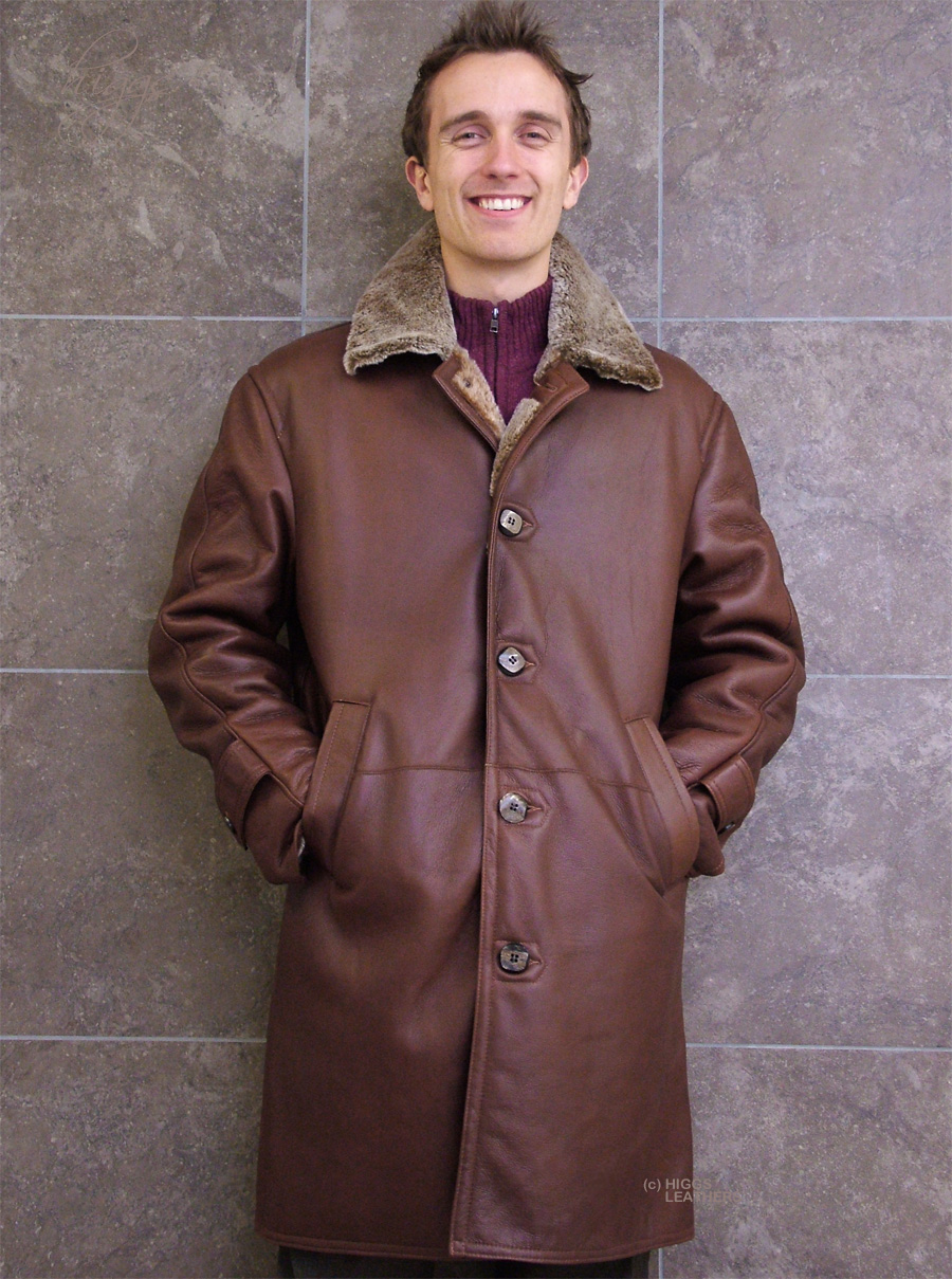 Higgs Leathers {SAVE £100!}  Ludovic (7/8th. length men's Merino Shearling coat) Superb Quality - Men's Shearling coats!
