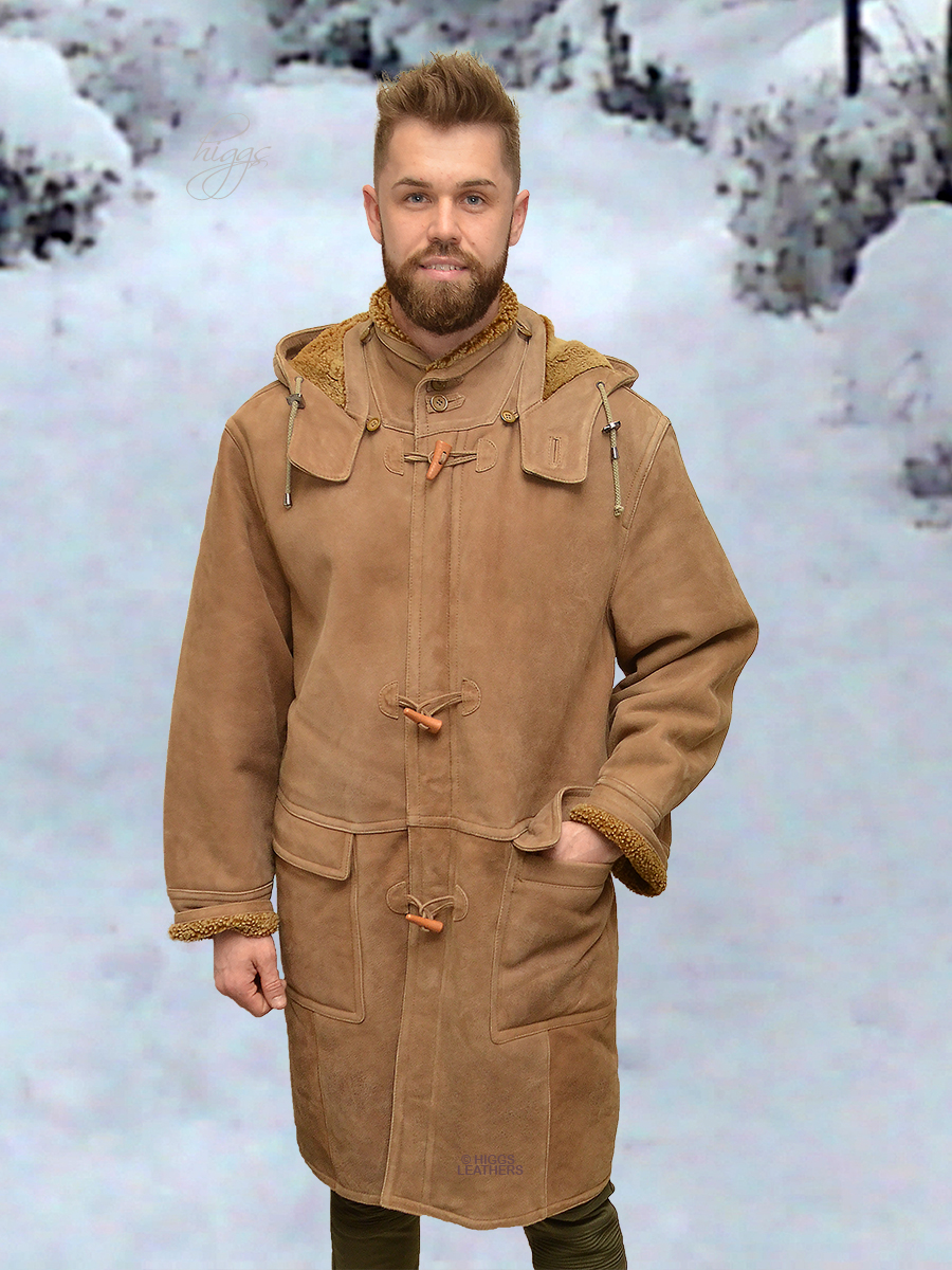 Higgs Leathers {ONE ONLY - SOLD!}  Rudi (Shearling Duffel coats for men) SERIOUS WARMTH!