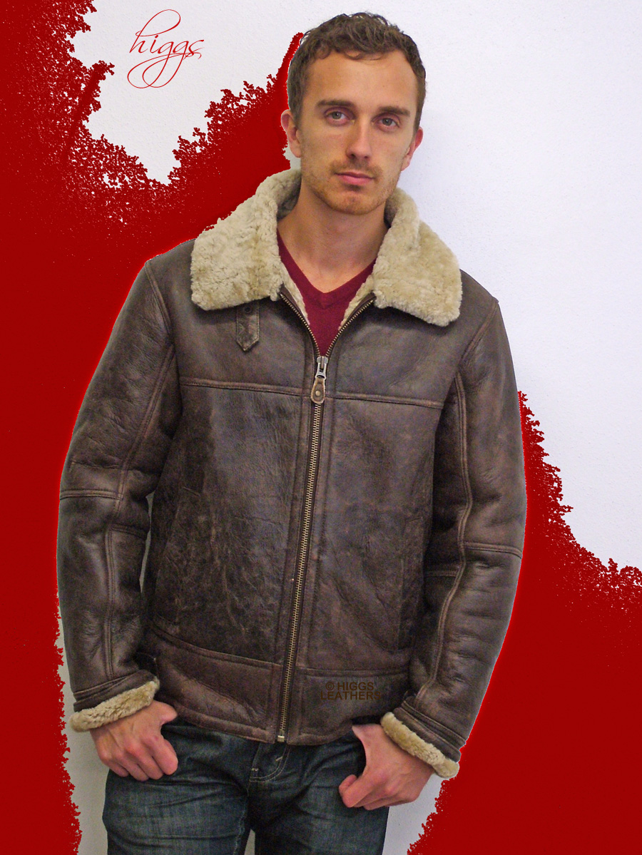 Higgs Leathers {SAVE £110!}  Hurricane (men's sheepskin flying jackets)  FEW ONLY AT THIS LOW PRICE!