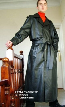 Higgs Leathers Gareth (Ultimate Quality men's black leather trench coats) HIGGS ORIGINAL DESIGN!