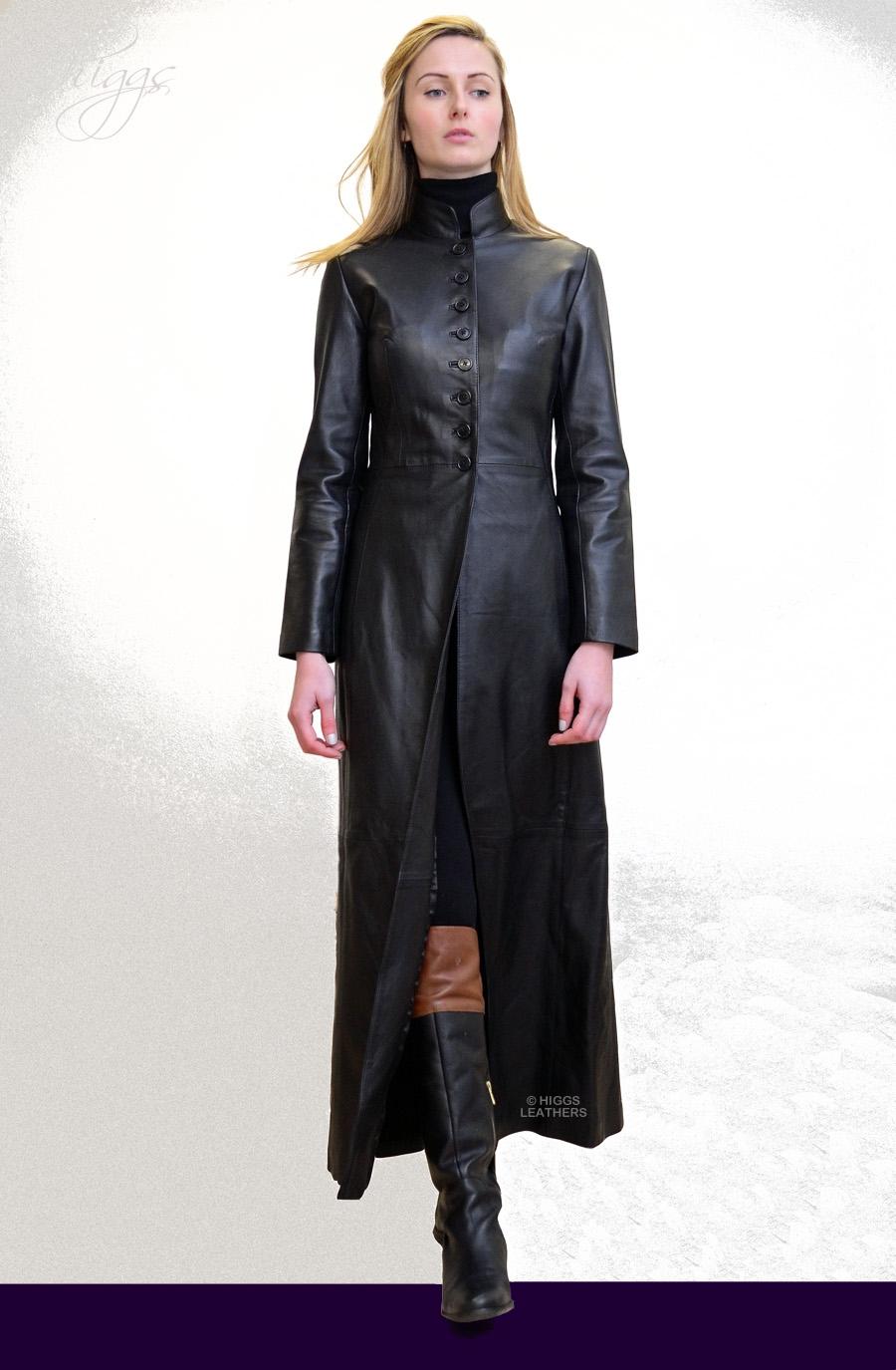 Higgs Leathers Buy Trinity Ladies Long Black Leather Coat Online